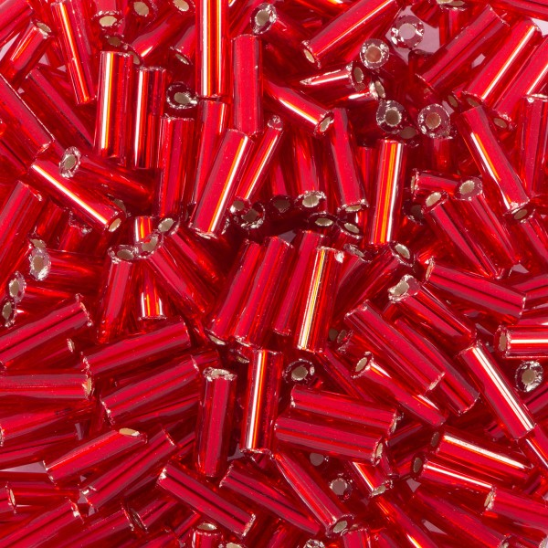 Glasstifte transparent 6mm 15g rot Silbereinzug, Lochgr. ca. 0,9mm