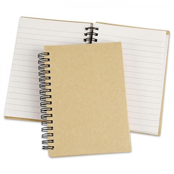 Notizbuch liniert Pappe DIN A6 10,5x15cm natur 80 Blatt
