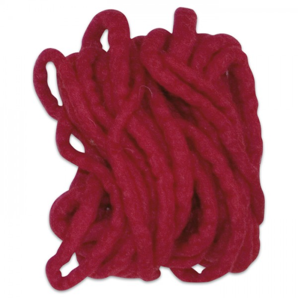 Filzschnur 5mm 5m rot 100% Wolle, handgefertigt