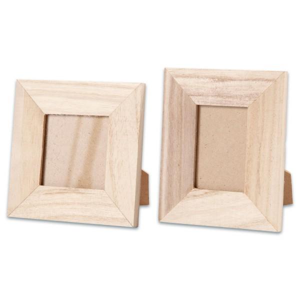 Aufstellrahmen-Set Holz 9/10x10/11cm 2 St. natur mit Glasscheibe