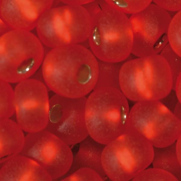 Rocailles transparent matt 4,5mm 17g rot Silbereinzug, Glas, Lochgr. ca. 1mm