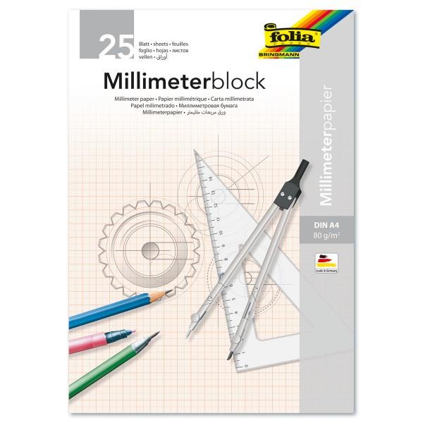 Millimeterblock 80g/m² DIN A4 25 Bl. Millimeterpapier