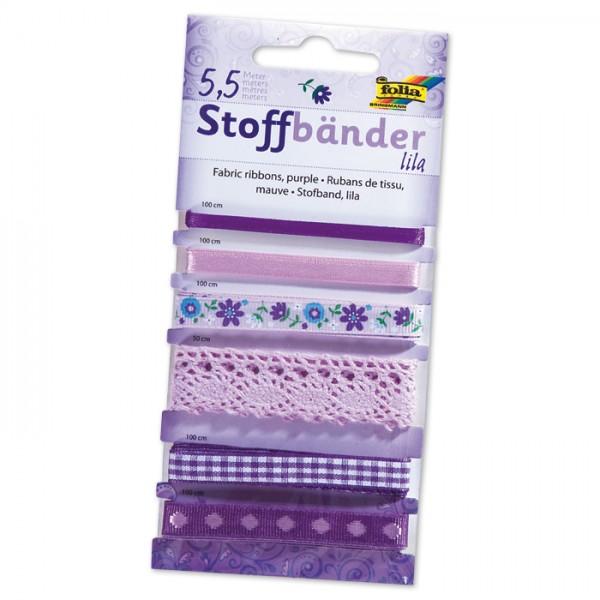 Stoffbänder 6 Designs 5,5m lila 100% Polyester