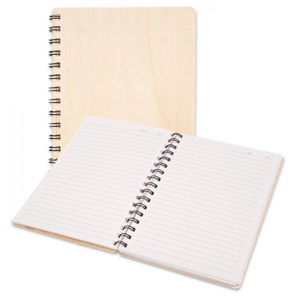 Notizbuch 60 linierte Seiten 15,5x22,3cm Holz/Papier/Draht