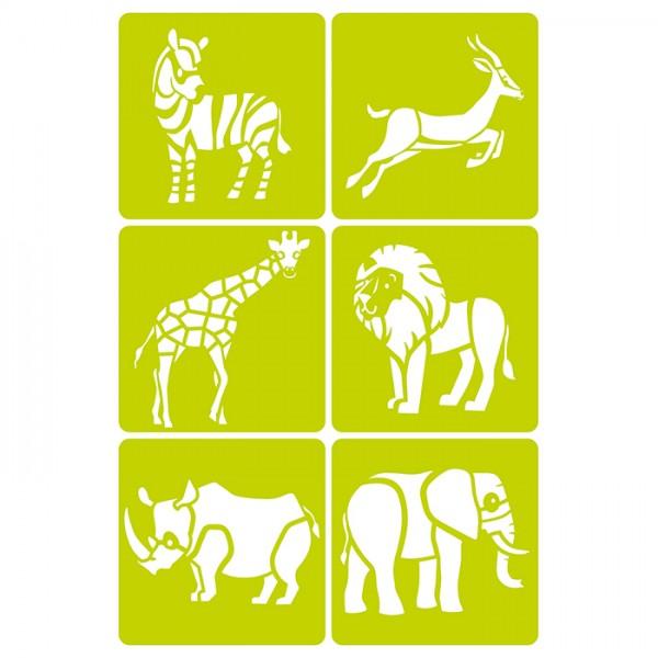Schablonen Tiere Savanne 15x15cm 6 St. Motiv ca. 14cm, Kunststoff