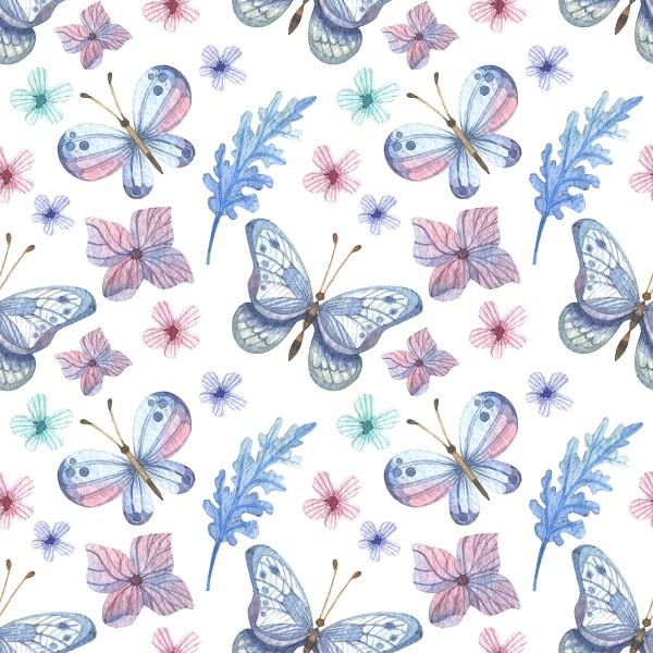 Interlock-Stoff wasserabweisend 50x40cm Schmetterlinge 100% Polyester