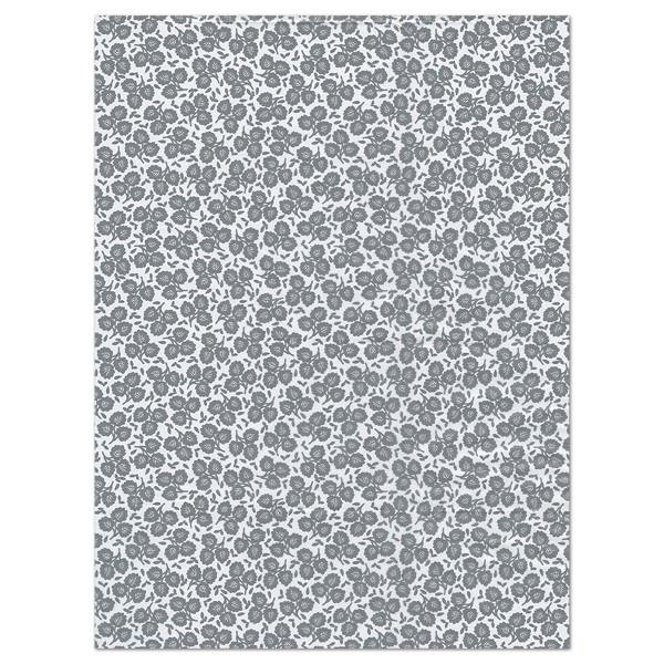 Decoupagepapier graue Blätter auf weiß von Décopatch, 30x40cm, 20g/m²