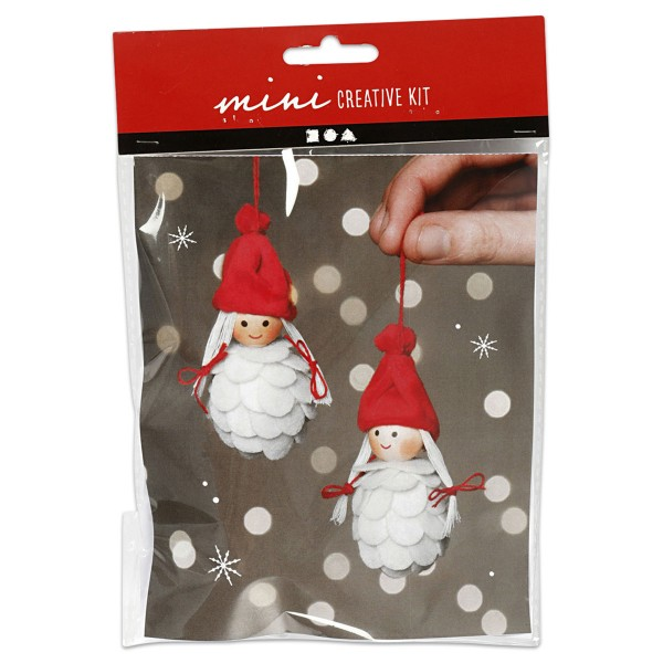 Mini-Kreativset Weihnachtsfeen aus Makramee ca. 8cm
