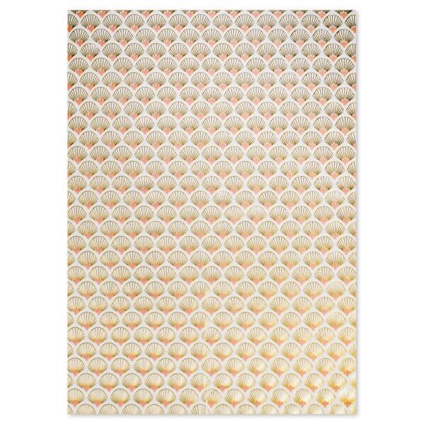 Decoupagepapier Texture stilisierte Muscheln weiß/rosa von Décopatch, 30x40cm, mit Metalliceffekt