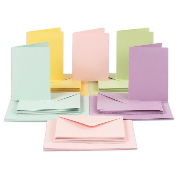 Doppelkarten 10,5x15cm 210g/m² 50 St. Pastellfarben inkl. Kuverts