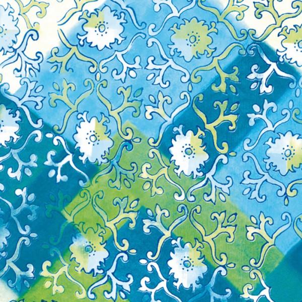 Decoupagepapier weiße Blumen&Ranken auf blau von Décopatch, 30x40cm, 20g/m²