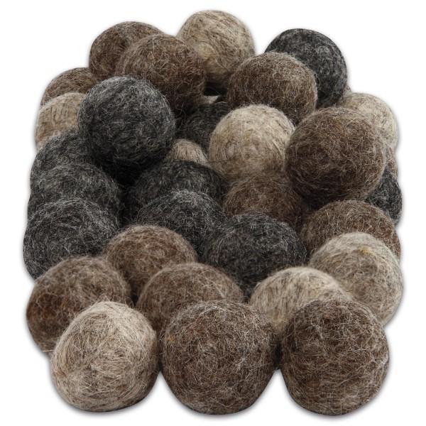 Filz-Woll-Kugeln 2cm 64 St. Naturtöne 100% Wolle