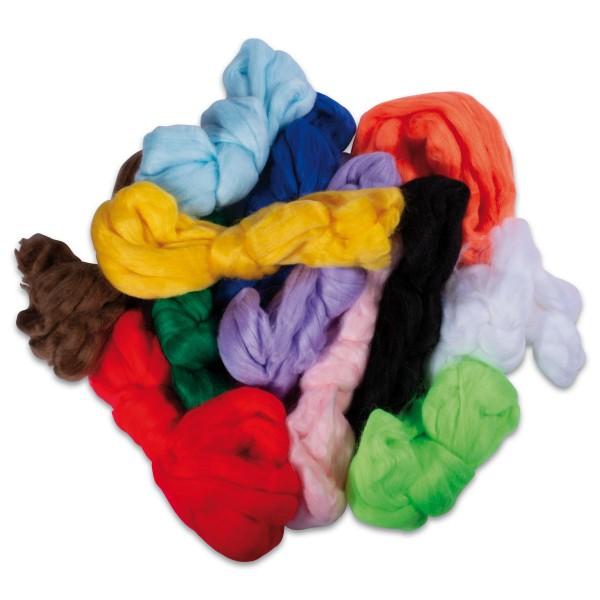Acryl-Märchenwolle ca. 350g 12 Farben 100% Polyacryl, Dekorationsartikel, nicht zum Filzen geeignet!