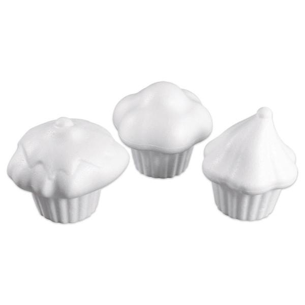 Styropor-Cupcakes-Set Ø 7,9 - 8,8cm 6 St. 3 Motive à 2 St.