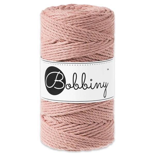 Bobbiny 3PLY Makramee-Kordel Ø3mm blush ca. 300g-400g, 100% Baumwolle, LL 100m, 3x20 Fasern