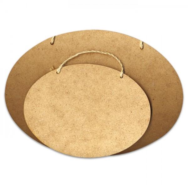 Schild oval mit Bohrung MDF 3mm 19x14cm