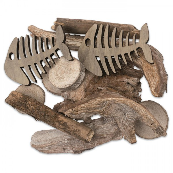 Skelettfische Holz ca. 7x10cm 2 St. inkl. Schwemmholz, insg. ca. 240g