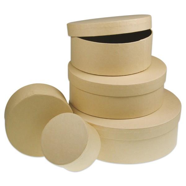 Pappschachteln rund 5er-Set h4,5-6,5cm; Ø8-19cm