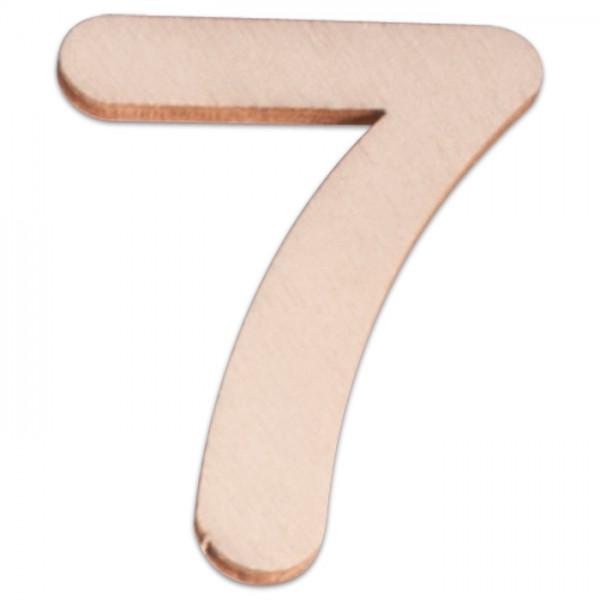 Holzzahl 7 ca. 3mm 6cm hoch natur
