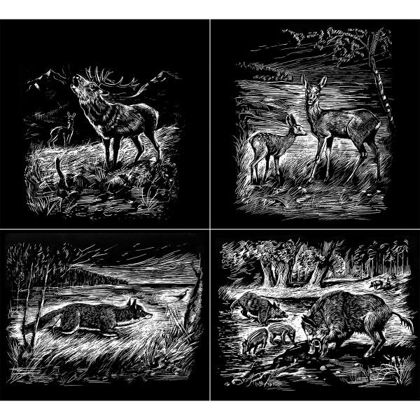 Kratzbilder-Set silber Wildtiere 4 St. à ca. 10,5x15cm