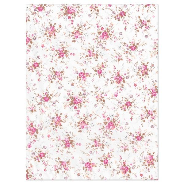 Decoupagepapier pinke Röschen auf weiß von Décopatch, 30x40cm, 20g/m²