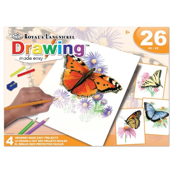 Malen nach Zahlen mit Buntstiften 4 St. Schmetterlinge