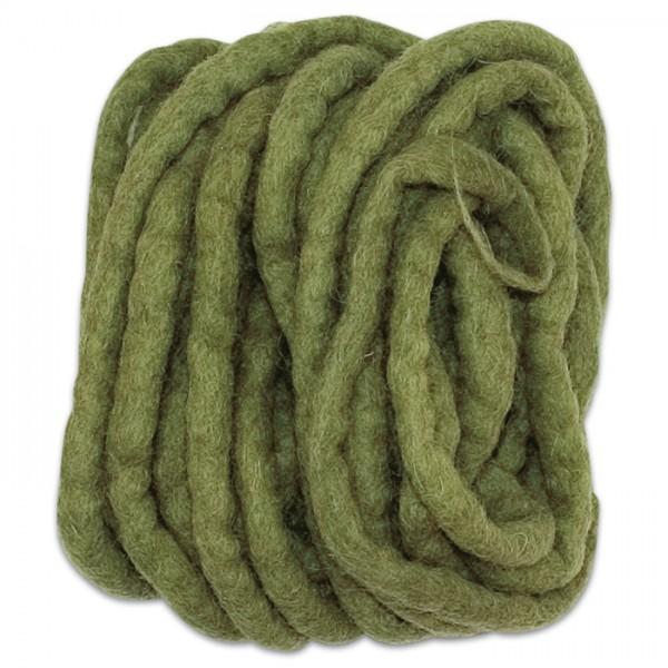 Filzschnur 5mm 5m olive 100% Wolle, handgefertigt