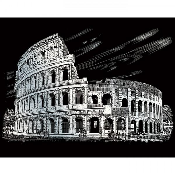 Kratzbild silber 20,3x25,4cm Kolosseum