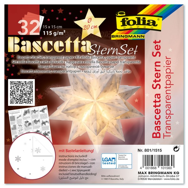 Bascetta-Stern ca. Ø 20cm 32 Bl. weiß/silberne Schneeflocken 15x15cm, Transparentpapier, 115g/m²