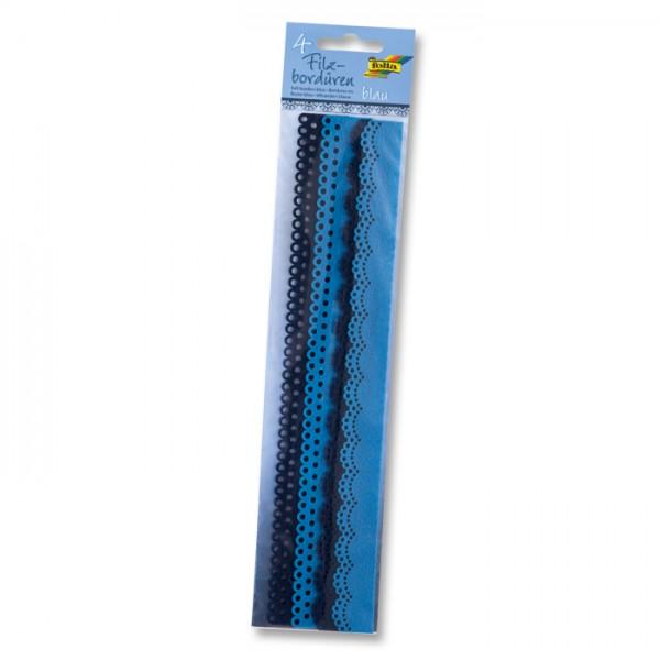 Filzbordüren 2 Designs 4 St. à 30cm blau 25/30mm breit, 100% Polyester