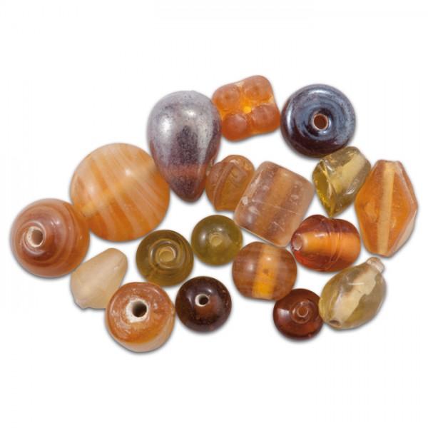 Glasperlen glänzend 9-15mm 100g topas handgefertigt, Lochgr. ca. 0,9-1,5mm