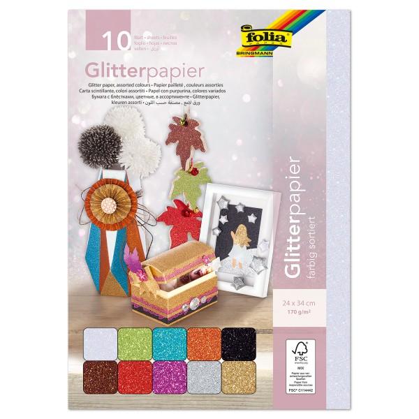 Glitterpapier einseitig 24x34cm 10 Bl./Farben 170g/m²