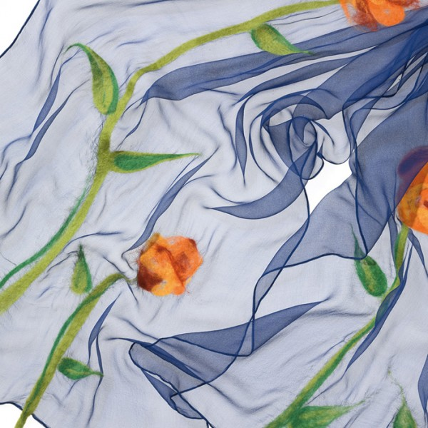 Schal Chiffon 3,5 55x180cm dunkelblau 100% Seide