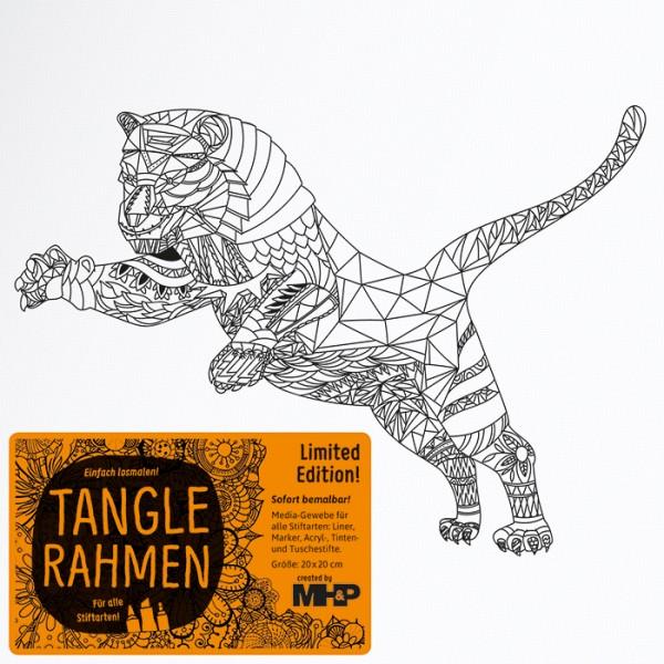 Tangle-Keilrahmen 20x20x2cm Tiger