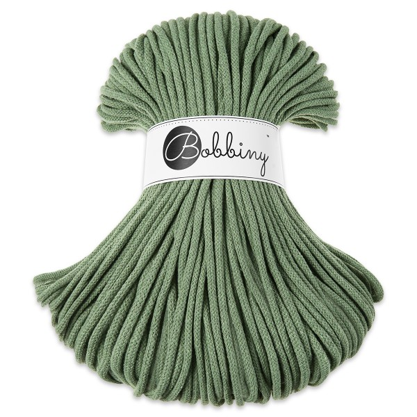 Bobbiny Rope-Garn Premium Ø5mm eucalyptus green ca. 400g-500g, 100% Baumwolle, LL 100m, Nadel Nr. 10