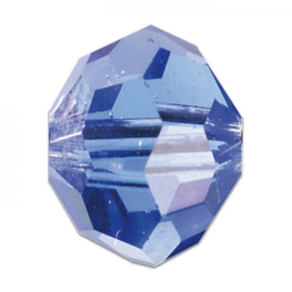 Facettenschliffperlen 6mm 30 St. light safir transparent, feuerpoliert, Glas, Lochgr. ca. 1mm