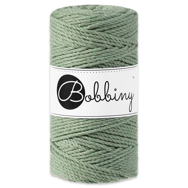 Bobbiny 3PLY Makramé-Kordel Ø3mm eucalyptus green ca. 300g-400g, 100% Baumwolle, LL 100m, 3x20 Faser