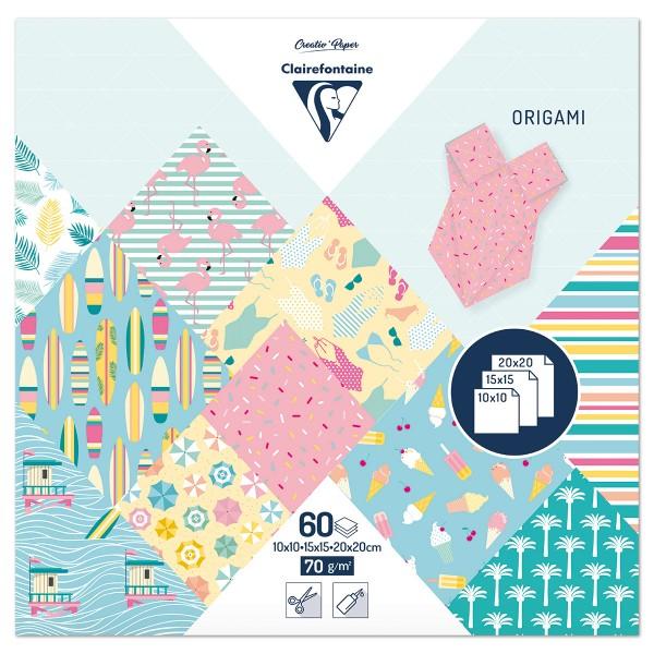 Origami-Papier 3 Formate 10x10/15x15/20x20cm 60 Bl. Kalifornien 70g/m², 10 Motive