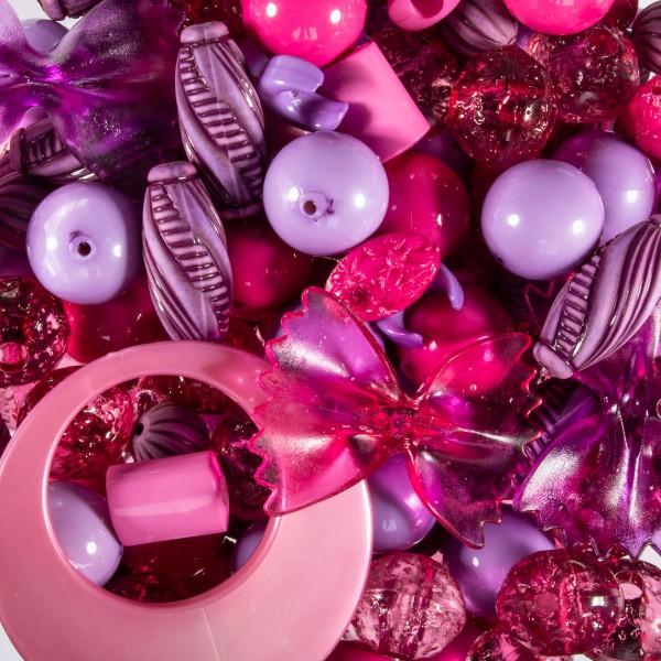 Kunststoffperlen-Mix 4-40mm rosa-lila satt ca. 350-400g, Lochgr. ca. 0,9-12mm