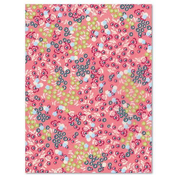 Decoupagepapier Blümchen pink/rosa/hl.grün von Décopatch, 30x40cm, 20g/m²