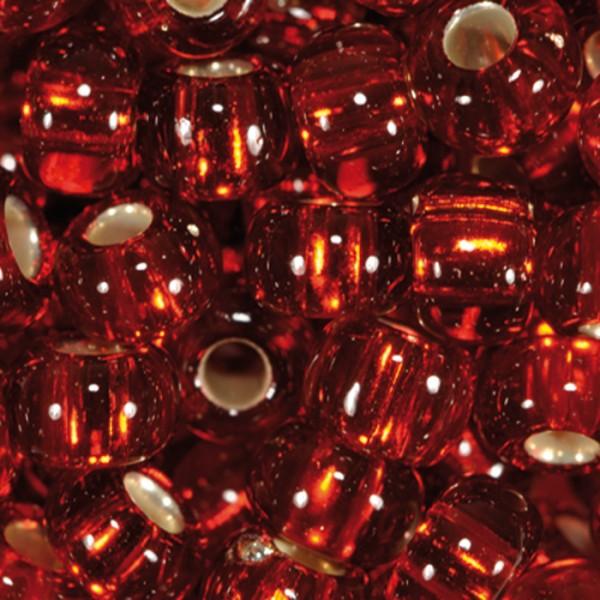 Rocailles transparent 4,5mm 500g rot Silbereinzug, Glas, Loch ca. 1mm