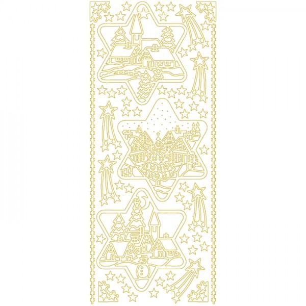 Konturensticker Weihnachtsmotive 2 goldfarben 1 Bogen à 10x23cm