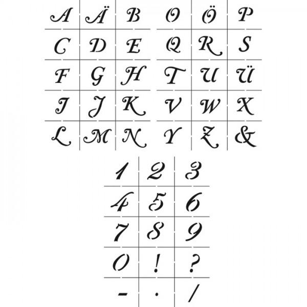Universal-Schablonen DIN A5 Zahlen & Alphabet groß 3-teilig