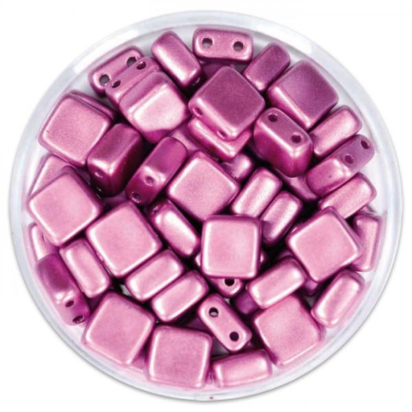 DeluXes 2-Hole Square 6mm 35 St. amethyst metallic Glas, Lochgr. ca. 0,9mm