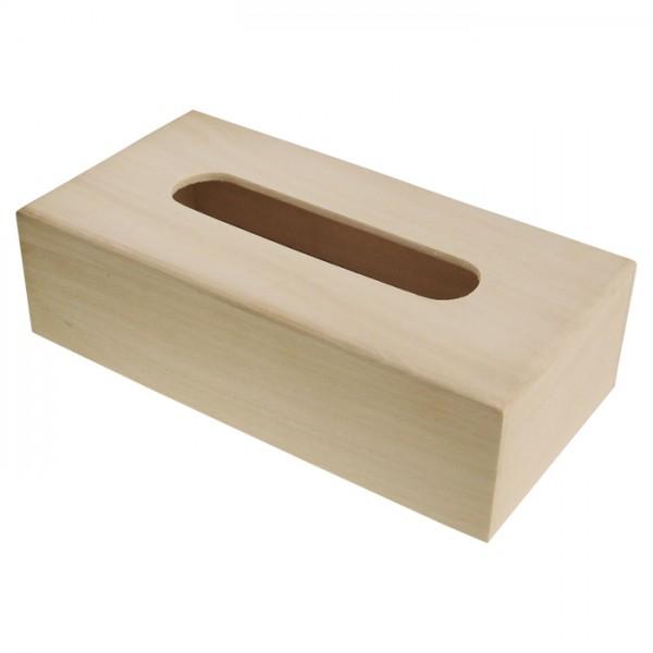 Kosmetiktücherbox Holz 27x13,5x7,5cm natur Schiebeboden