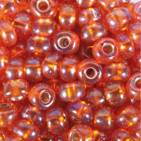 Rocailles Silbereinzug AB 4,5mm 17g orange Glas, Lochgr. ca. 1mm