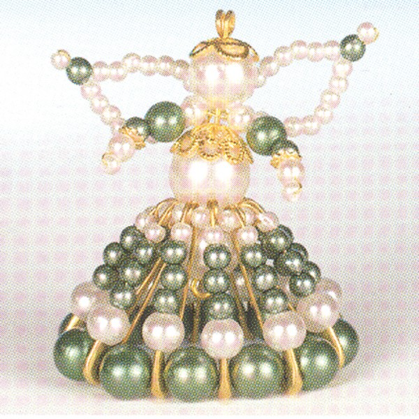 Kreativset Perlenengel ca. 7cm grün-goldfarben Bastelset, Kunststoff/Metall