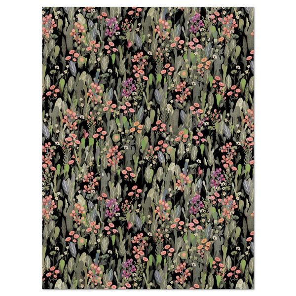 Decoupagepapier Blumenwiese grün/rosa von Décopatch, 30x40cm, 20g/m²