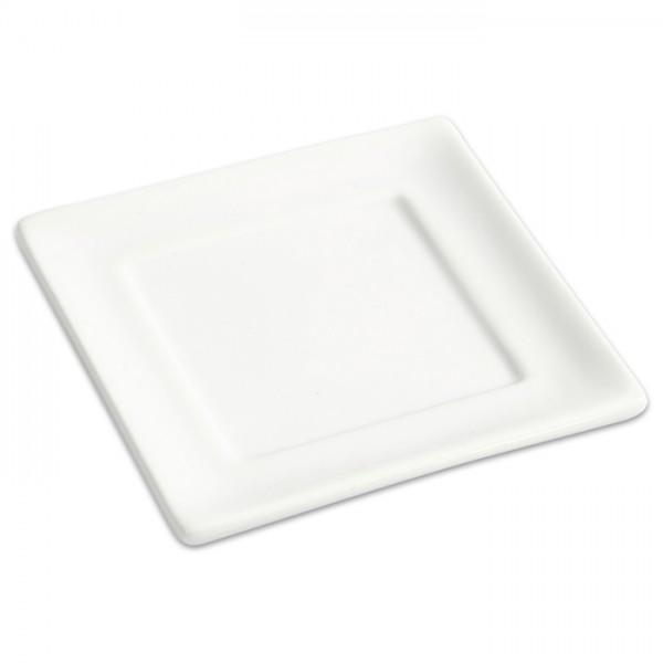 kleine Platte Porzellan 95x95mm weiß