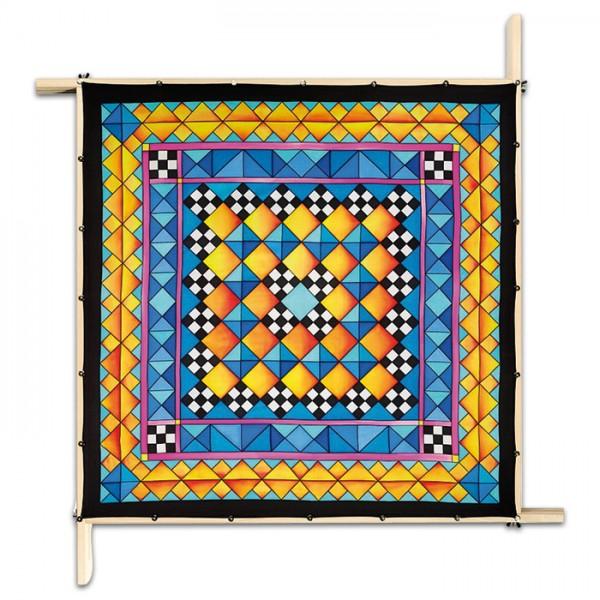 Tuch Gutta schwarz 90x90cm Mosaique naturweiß 100% Seide, Seide Pongé 08